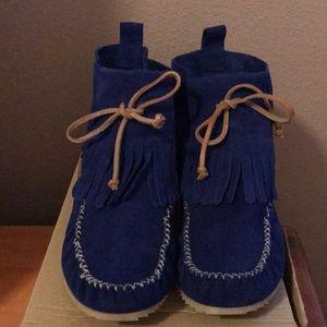 TRF by Zara suede high-cut blue moccasins